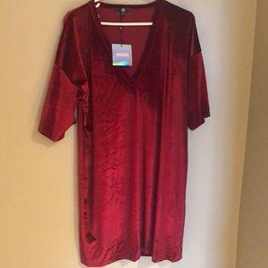 Burgundy velvet T-shirt dress